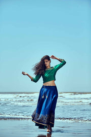 A set of Blue-Green printed Reversible Skirt & Top. - Ira Soleil