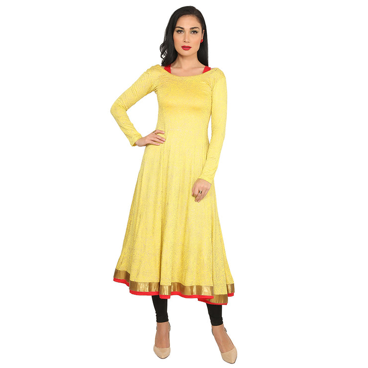 A block printed stretchable anarkali kurti &  Inner set - Ira Soleil