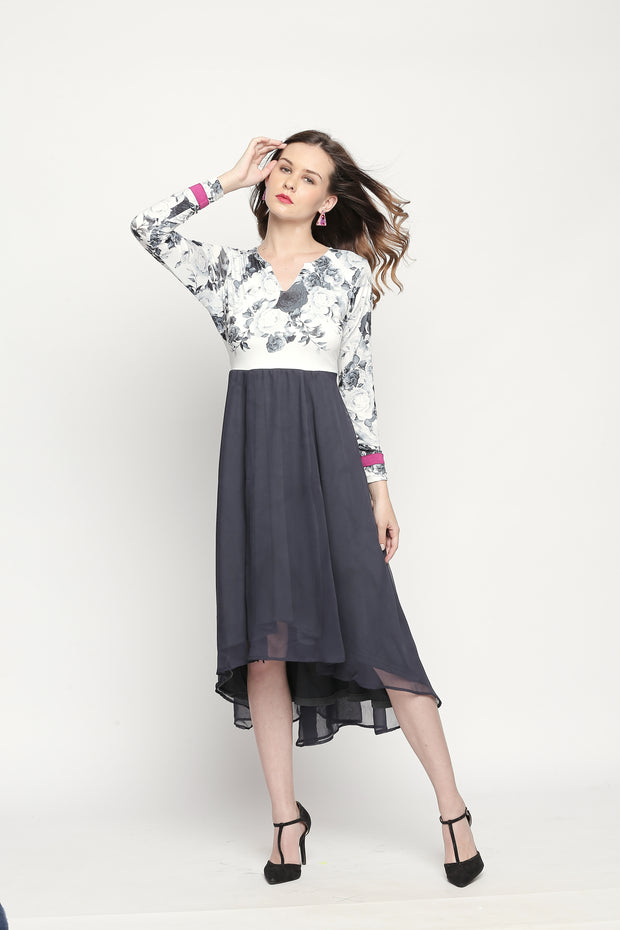 High-low floral printed White & Grey kurta. - Ira Soleil