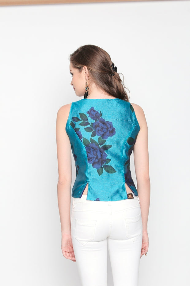 Blue & Royal Blue New Reversible Top with floral print - Ira Soleil