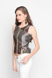 Grey & Magenta New Reversible Top with floral print - Ira Soleil