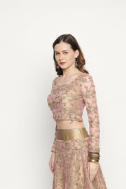 3-pc pink-gold heavy embroidered full-flare lehenga set - Ira Soleil