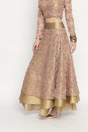 3-pc pink-gold heavy embroidered full-flare lehanga set. - Ira Soleil