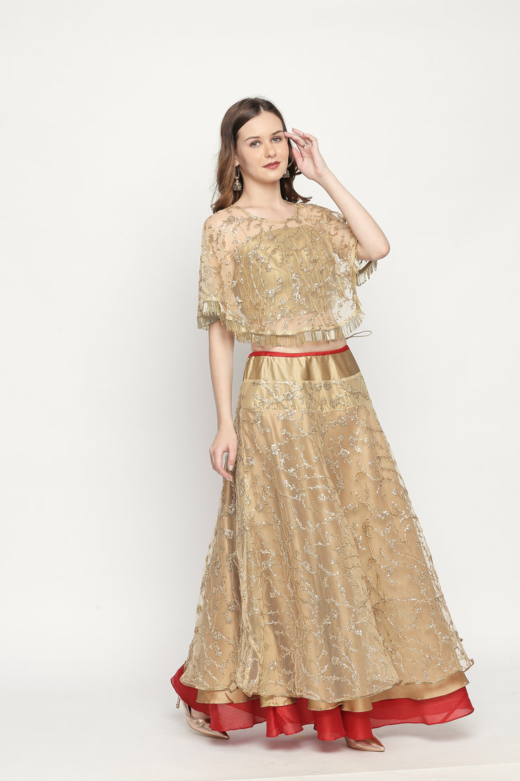 Gold fully embroidered Cape. - Ira Soleil