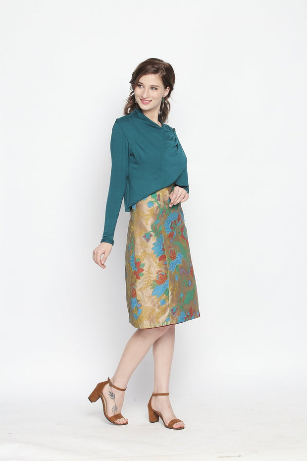 Bottle Green multi-way drape crop jacket with long sleeves. - Ira Soleil