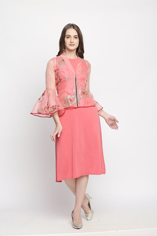 A set of coral embroidered tissue jacket & inner - Ira Soleil