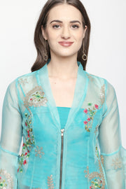 2 pc set of Self-embroidered tissue jacket & inner - Ira Soleil
