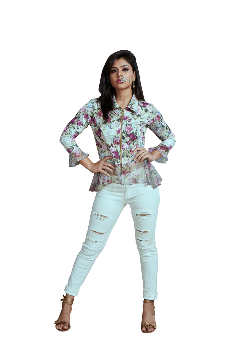 Digital floral printed Jacket made in Scuba & Chiffon. - Ira Soleil