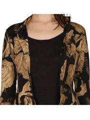Black all over block printed viscose short jacket with 3-4th sleeves. - Ira Soleil