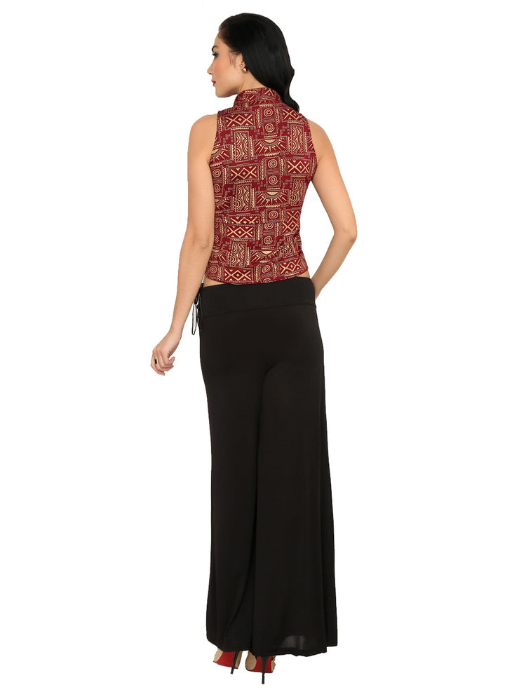 Maroon Polyester Knitted stretchable front open, all over printed sleeveless jacket - Ira Soleil