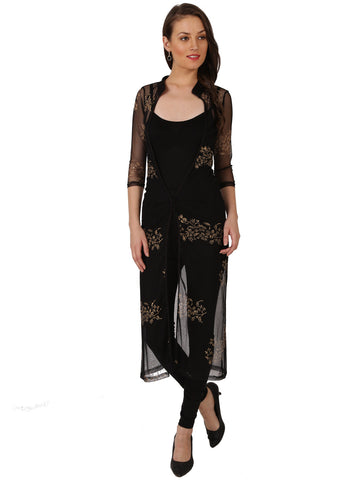 Ira Soleil Black poly net block printed long jacket