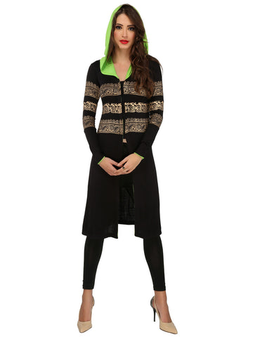 ira-soleil-black-polyester-knitted-stretchable-front-open-gold-block-printed-long-sleeves-womens-hooded-long-jacket-kurti