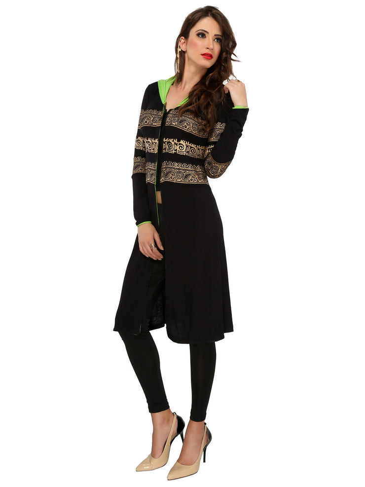 Black stretchable golden block printed long jacket kurti with hoodie - Ira Soleil