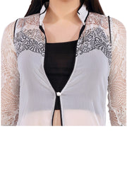 White georgette printed jacket