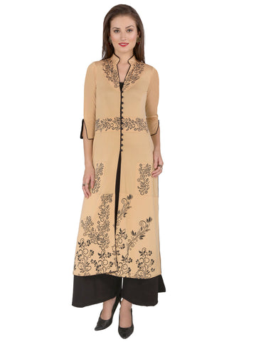 ira-soleil-2pc-set-beige-3-4th-sleeves-long-jacket-with-black-print-on-it-along-palazzo-pant