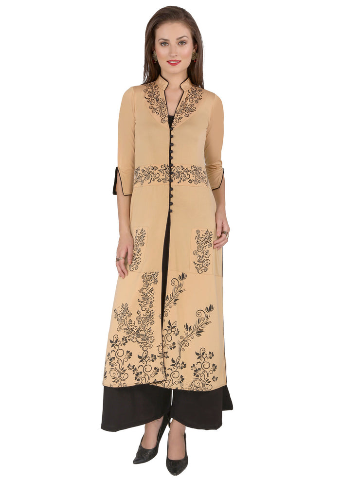 Set of beige long printed jacket and palazzo pant. - Ira Soleil