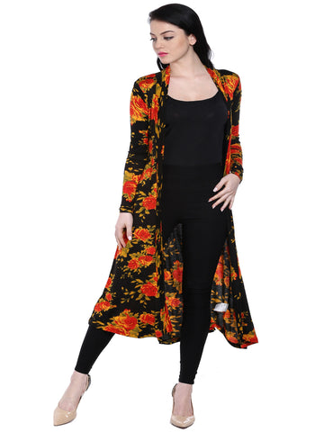 ira-soleil-black-with-floral-print-viscose-knitted-front-open-long-jacket
