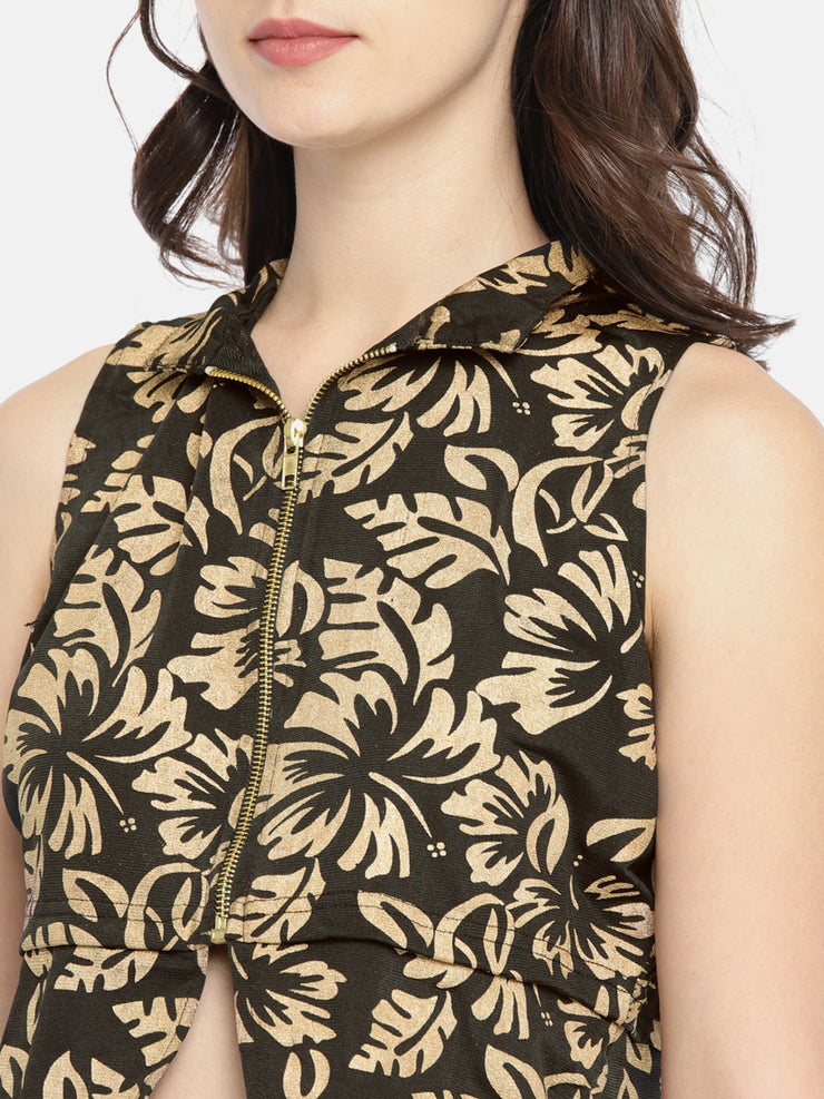 Gold All Over Printed Sleeveless Jacket - Ira Soleil