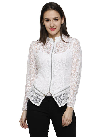 Ira Soleil White lace jacket with zipper