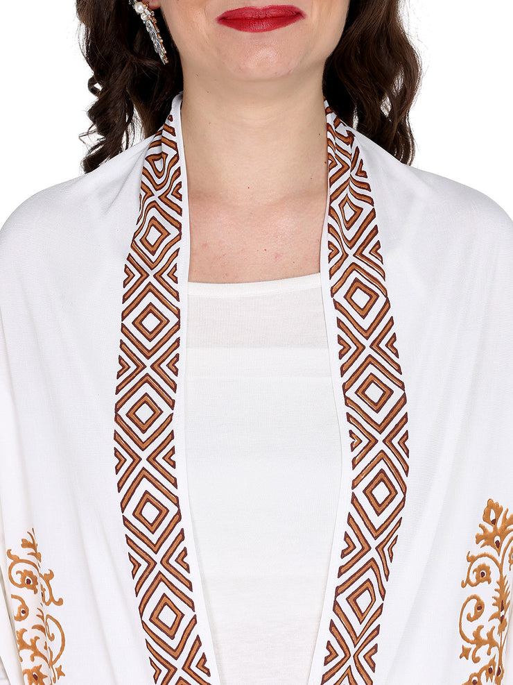 Ira Soleil White printed long jacket made with stretched polyster lycra - Ira Soleil