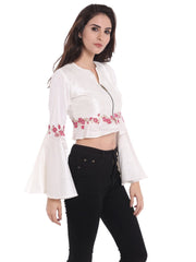 Ira soleil white block printed long sleeves jacket in dupion fabric - Ira Soleil