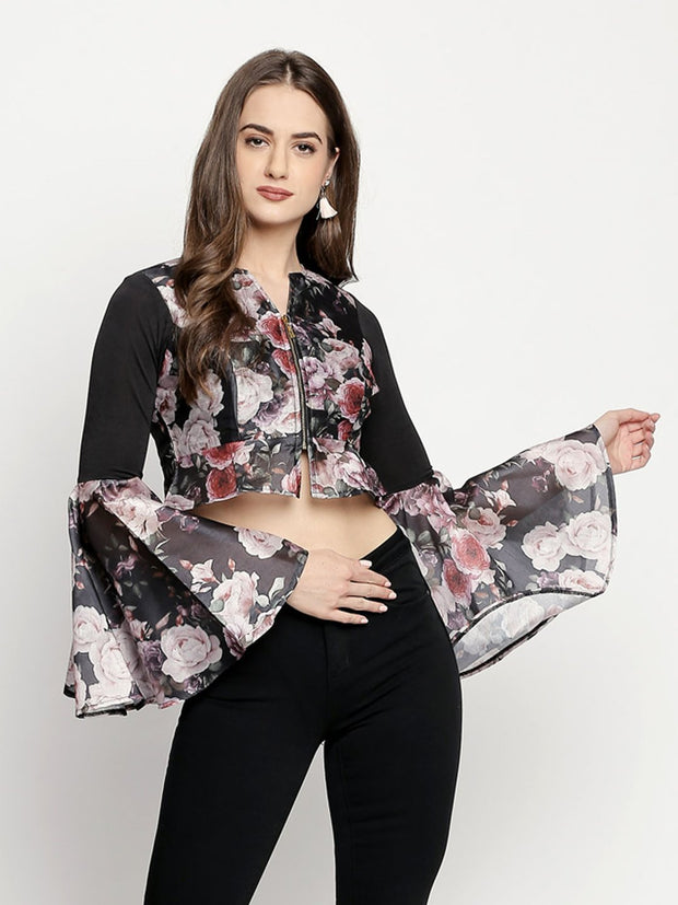 Black Digital printed long sleeves jacket in dupion fabric - Ira Soleil