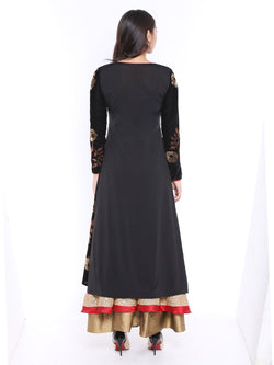 Black Jacket Kurta with print made in velvet Fabric