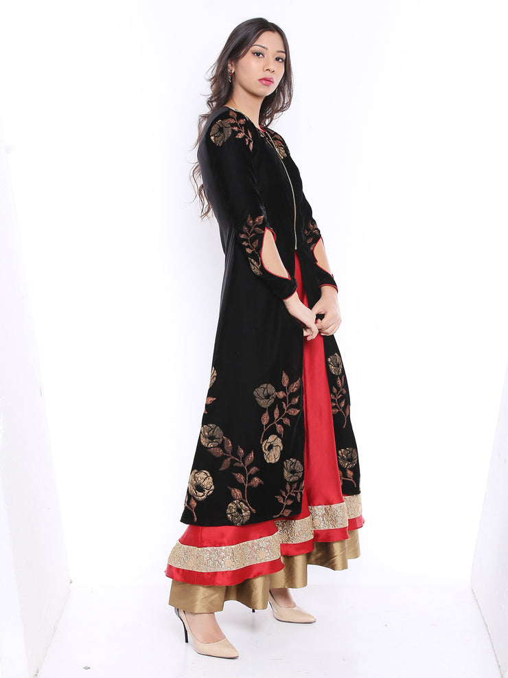 Black Jacket Kurta with print made in velvet Fabric - Ira Soleil