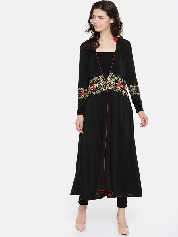 Black Long Jacket with embroidered waistline with long sleeves - Ira Soleil