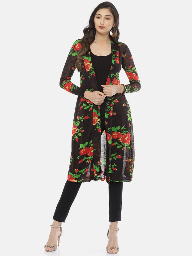 Ira Soleil New Black Front open All ovr printed Jacket - Ira Soleil