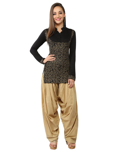 Ira Soleil Black Block Printed Viscose Knitted Stretchable long sleeves Women's Short Kurti