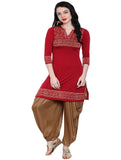 ira-soleil-maroon-viscose-knitted-kurti-with-gold-tinsel-print