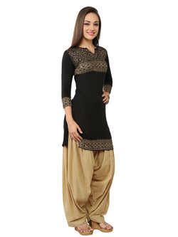 Black Block Printed Viscose Knitted Kurti