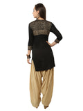 Ira Soleil Black Block Printed Viscose Knitted Stretchable 3/4 sleeves Women's Short Kurti
