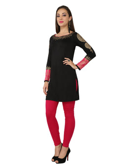 Black & Pink Block Printed Viscose Knitted Kurti