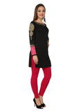 Ira Soleil Black & Pink Block Printed Viscose Knitted Stretchable long sleeves Women's Short Kurti