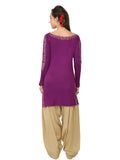 Ira Soleil Purple Block Printed Viscose Knitted Stretchable long sleeves Women's Short Kurti