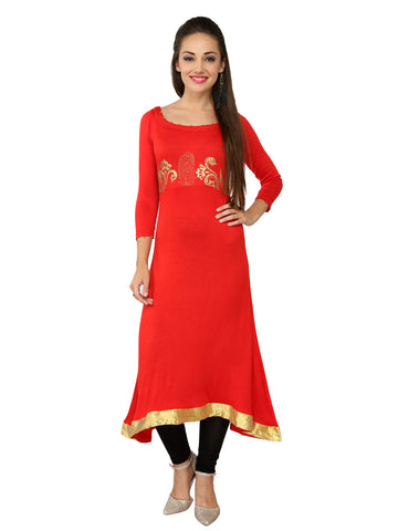 Ira Soleil Red Block Printed Viscose Knitted Stretchable 3/4 sleeves Women's Long Kurti