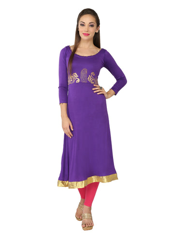 Ira Soleil Purple Block Printed Viscose Knitted Stretchable 3/4 sleeves Women's Long Kurti