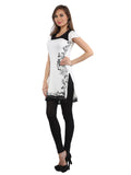 Ira Soleil Off-White Printed Viscose Knitted Stretchable cap sleeves Women's Short Kurti
