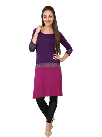 Ira Soleil Dusty Pink & Purple Block printed Viscose Knitted Stretchable Dip Dyed Women's Long Kurti