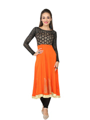 Orange & Black Block printed Viscose Knitted Anarkali - Ira Soleil