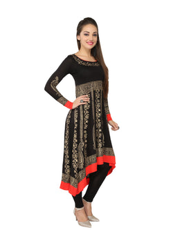 Black & Red Block printed Viscose Knitted Anarkali