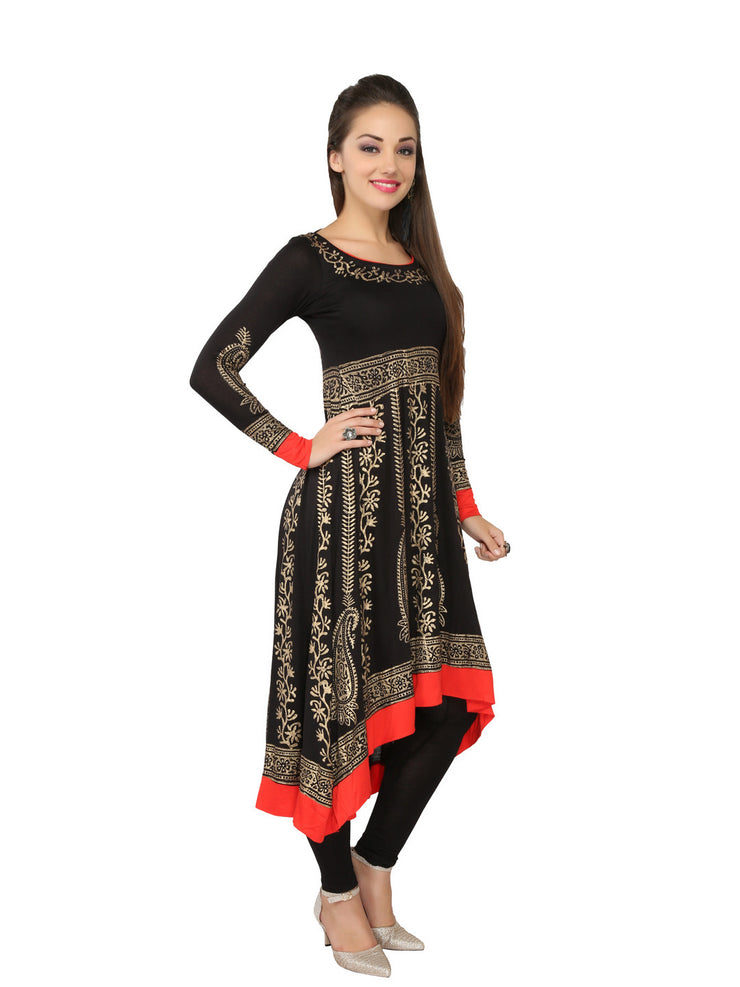 Black & Red Block printed Viscose Knitted Anarkali - Ira Soleil