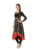 Ira Soleil Black & Red Block printed Viscose Knitted Stretchable Long sleeves Women's Anarkali Kurti