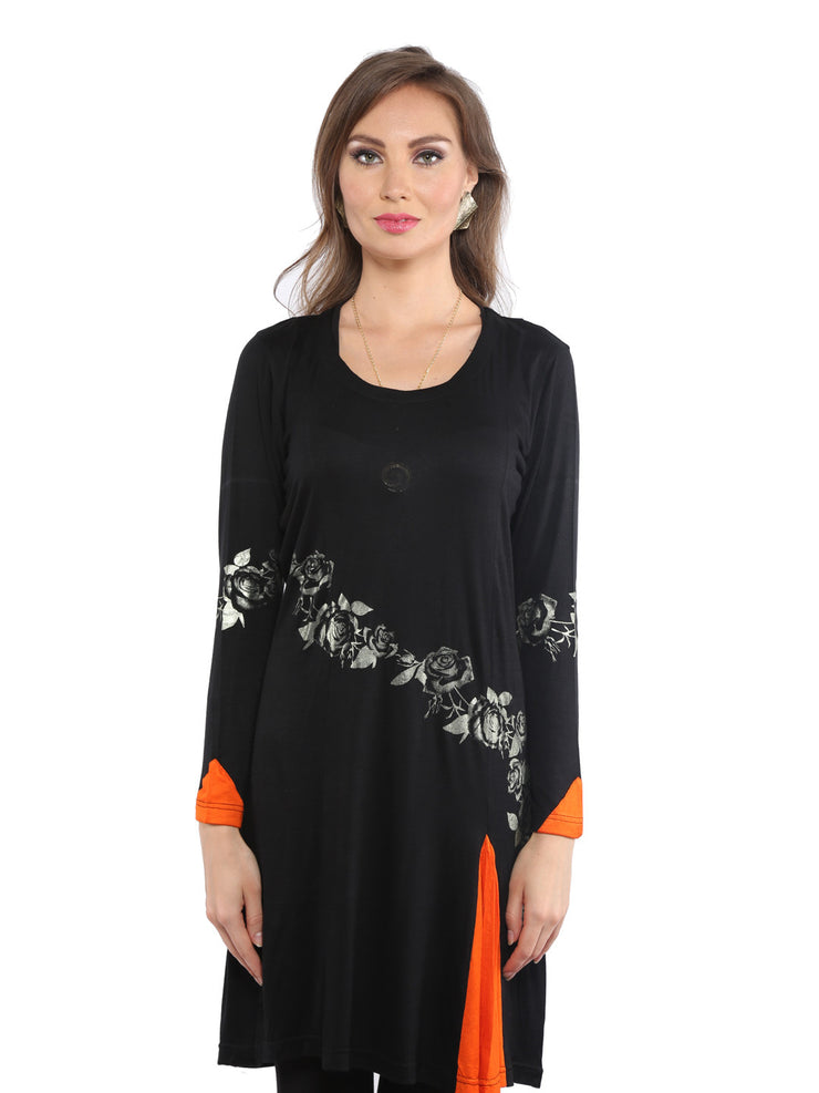 Black Printed Viscose Knitted long Kurti - Ira Soleil