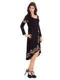 Ira Soleil Black Printed Viscose Knitted Stretchable long sleeves Tulip Shaped Women's Long Kurti