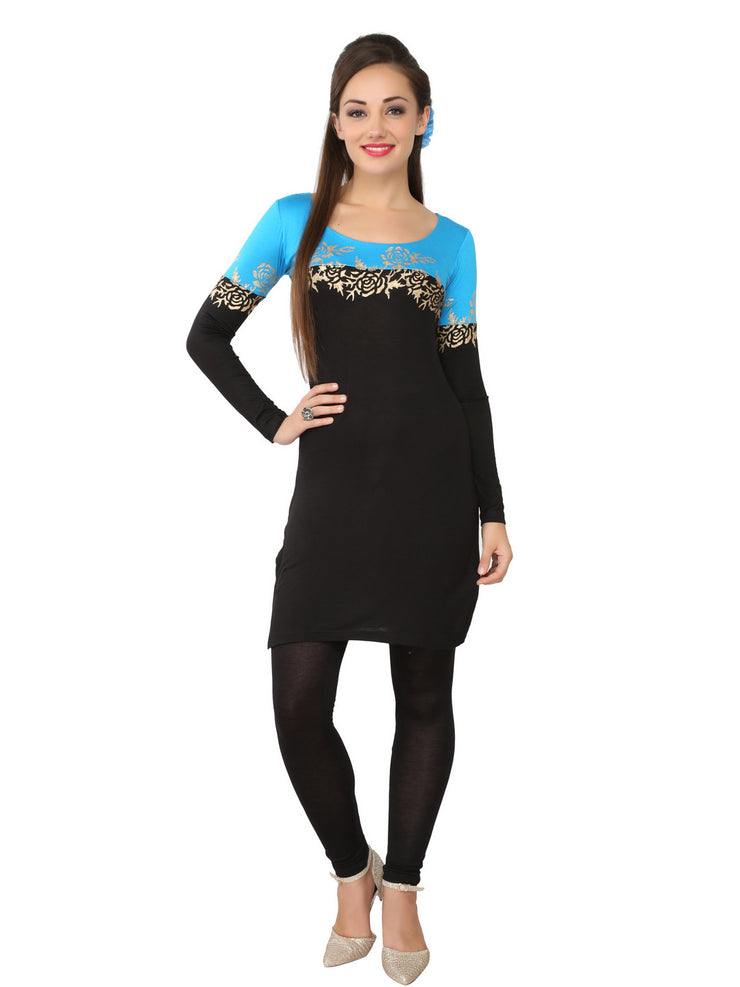 Ira Soleil Black & Blue Printed Viscose Knitted Stretchable long sleeves Women's Short Kurti - Ira Soleil