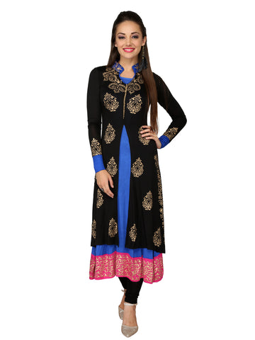 Ira Soleil 2peice set of Black & Blue Block Printed Viscose Knitted Stretchable long sleeves Women's Anarkali Kurti