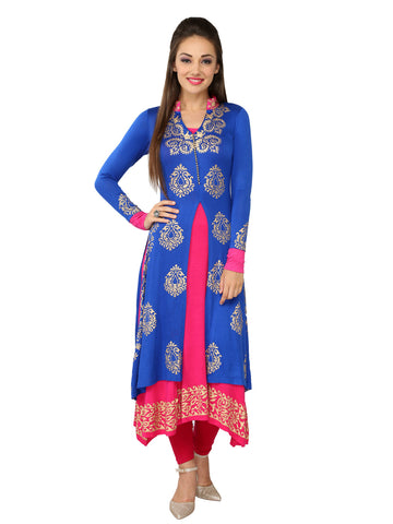 Ira Soleil 2peice set of Blue & Pink Block Printed Viscose Knitted Stretchable long sleeves Women's Anarkali Kurti